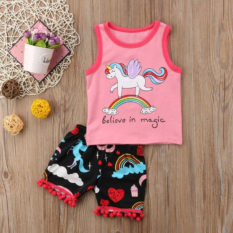 Funfeliz Berbeć Dziewczyny Letnie Ubrania Zestaw Cute Jednorożec - Ubrania dziecięce - Zdjęcie 2