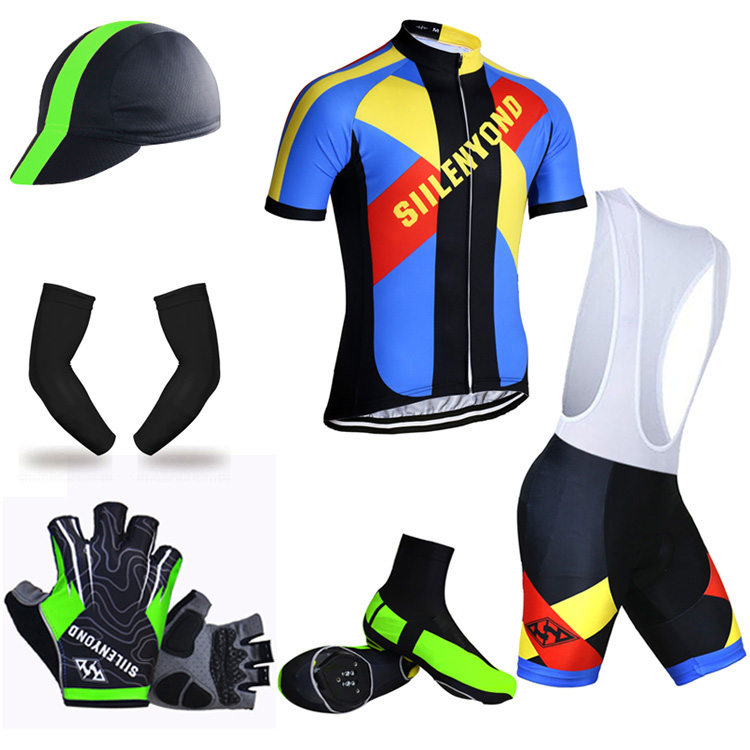 ФОТО Siilenyond Big Cycling Set 100% Polyester Summer Cycling Jersey Set Maillot Ropa Ciclismo Man's Mountain Bicycle Sportswear