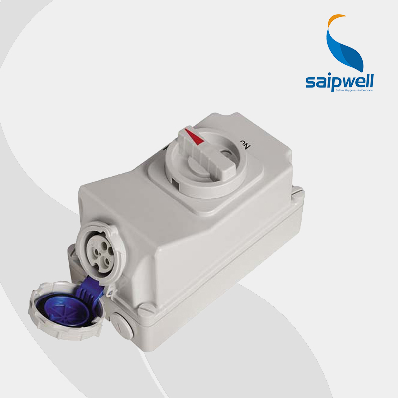 IP67 3P 16A 230V Socket with Switches and Mechanical Interlock (SP-7012) dhl ems b anner si ls42dmg sils42dmg interlock switch ac15 230v 2 5a a1