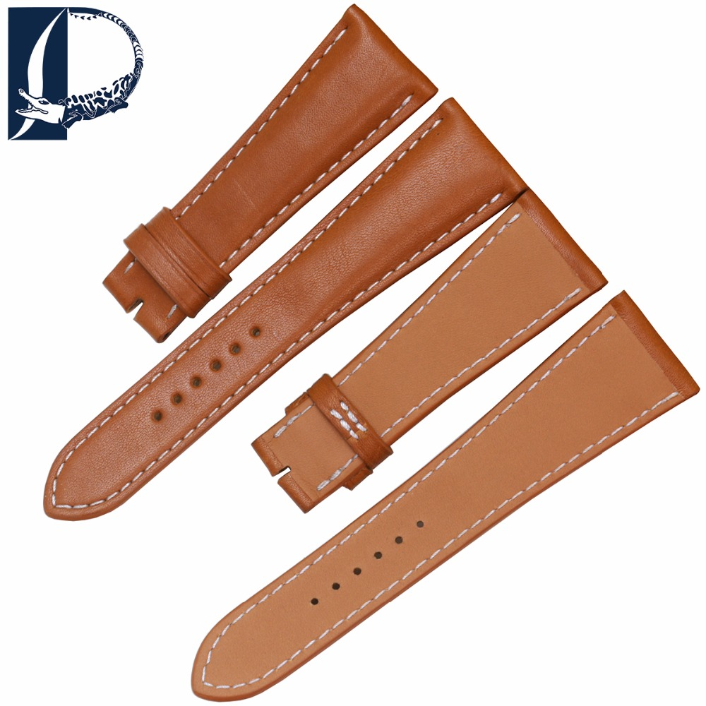 Pesno Genuine Leather Watch Smooth Texture Band Strap for Rolex Watch 24mm With Silver Rose Gold Stainless Steel Buckles