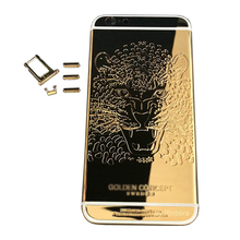 Rinbers For iPhone 6 Plus 5.5″ Engraved 24K Mirror Gold Lion Back Cover Housing Mid-Bezel Frame Replacement with Logo, DHL Free