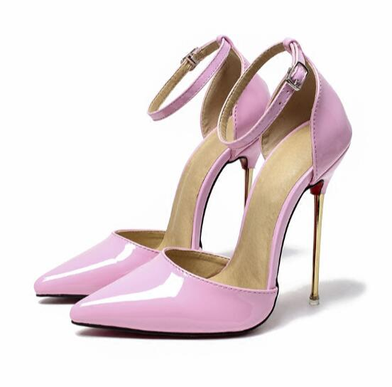 New Sexy Women Pointed Toe Thin High Heel Ankle Buckle Pumps Stiletto Evening Party Wedding Dress Shoes Stylish Plus Size stylish plus size keyhole neckline slit dress for women