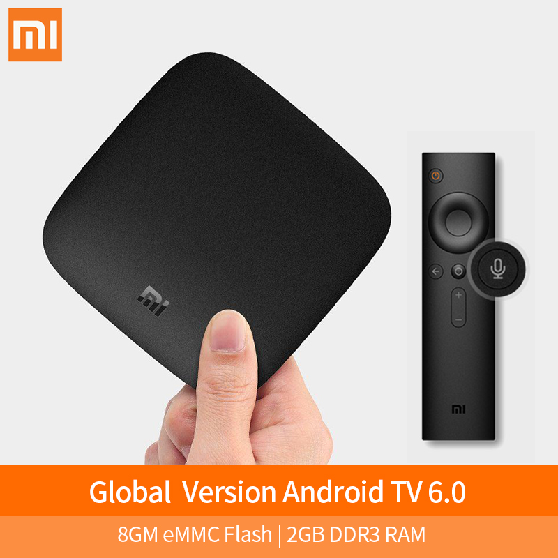 Origine Xiao mi mi tv boîte 3 SMART 4 K ultra hd 2G 8g android 6.0 Film wifi google Fonte Netflix Rouge Bull Media Lecteur Set-top Box