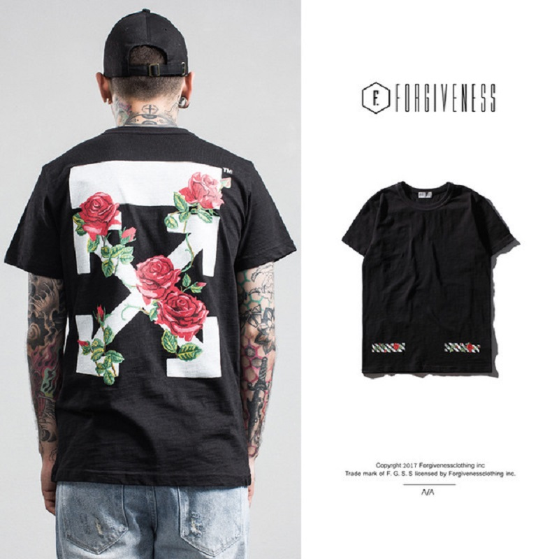 2019 fashion trend streetwear men spring and summer new arrow rose print fake embroidery men's short-sleeved t shirt men W509