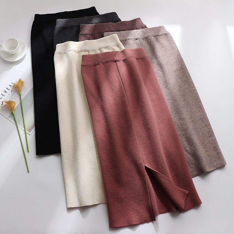 Трикотажная юбка средней длины, Женская юбка с высокой талией, осенняя и зимняя юбка на бедрах, шерстяные юбки с открытой спиной