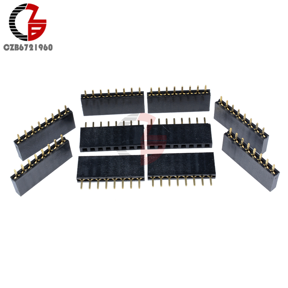 10Pcs 2.54mm Single Row 8 Pin PCB Socket Female Header Connector10Pcs 2.54mm Single Row 8 Pin PCB Socket Female Header Connector