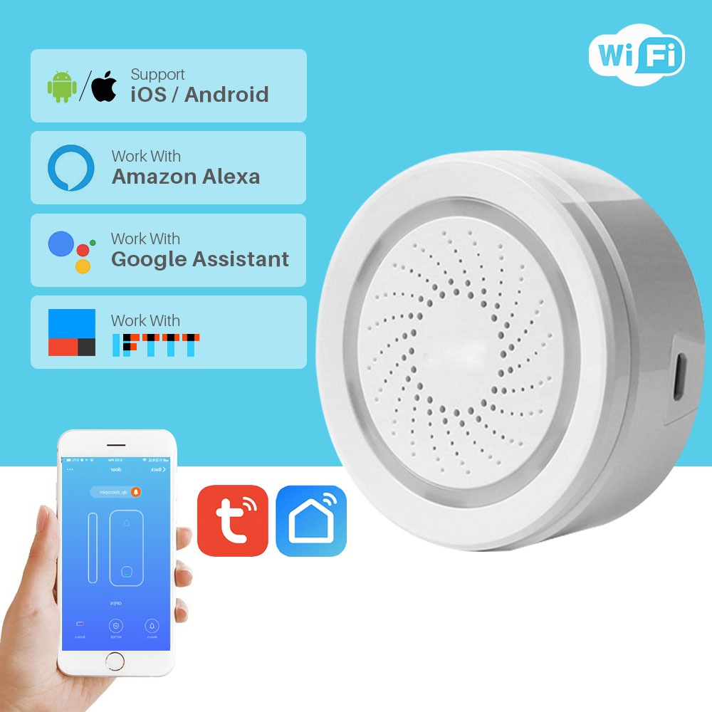 WiFi Siren Alarm Sensor Smart Home Security System USB Powered APP Notification Via Smartphone Support Alexa Google Home IFTTTWiFi Siren Alarm Sensor Smart Home Security System USB Powered APP Notification Via Smartphone Support Alexa Google Home IFTTT