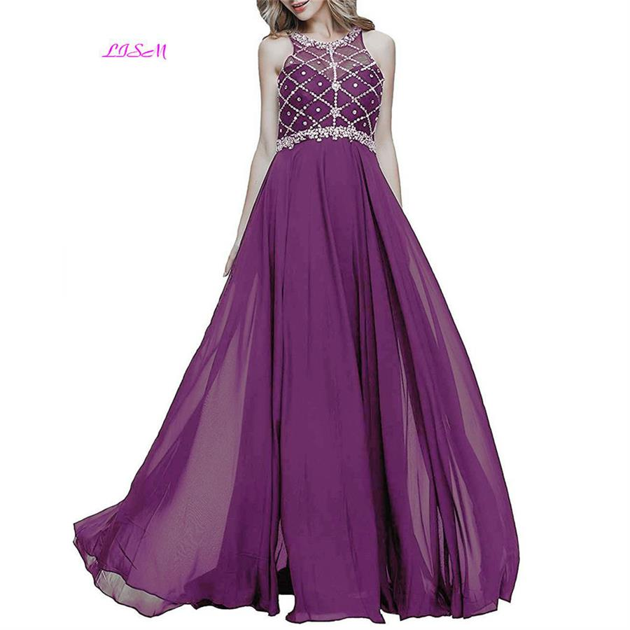 A Line Chiffon Crystals   Prom     Dresses   O-Neck Beaded Sequins Evening Party Gowns for Women Cheap Sleeveless Long vestido de gala