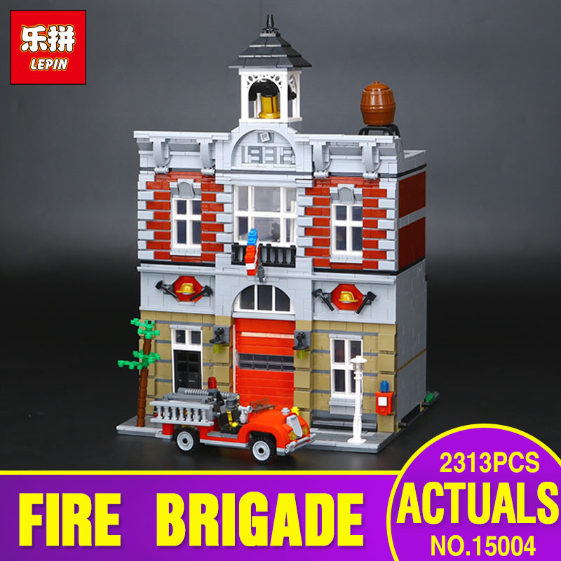 2313Pcs Lepin 15004 2017 City Street Fire Brigade Model Building Kits Blocks Bricks Compatible with  10197 for children gift lepin 15004 2313pcs city creator series fire brigade model building blocks bricks toys for children gift compatible 10197