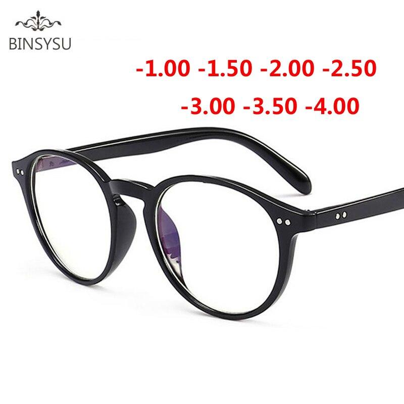 -1-1,5-2-2,5-3-3,5-4 Nieten Myopie Gläser mit grad Frauen männer Kurze sicht Brillen Schwarz und Transparent Rahmen