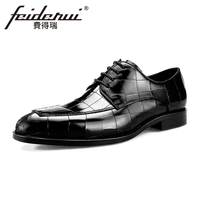 Luxury Brand Genuine Cow Leather Men's Footwear Round Toe Man Wedding Party Flats Formal Dress Designer Male Derby Shoes BQL51