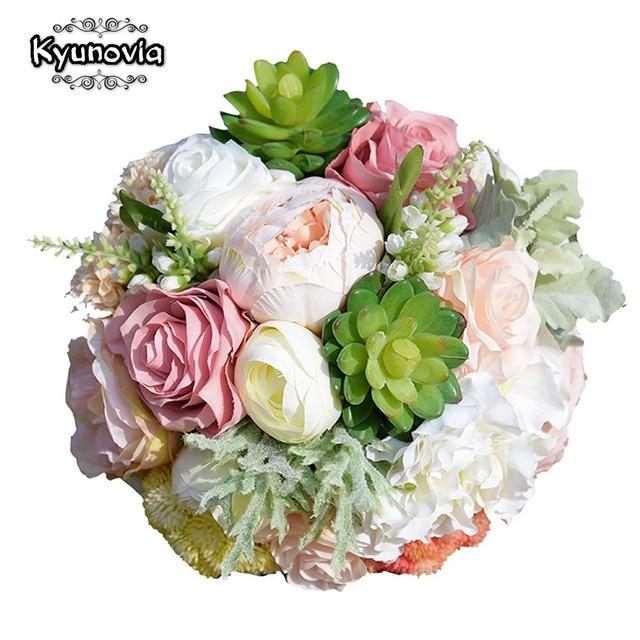 Kyunovia Succulent Plants Bouquet Chic Wedding Flowers Silk Flowers