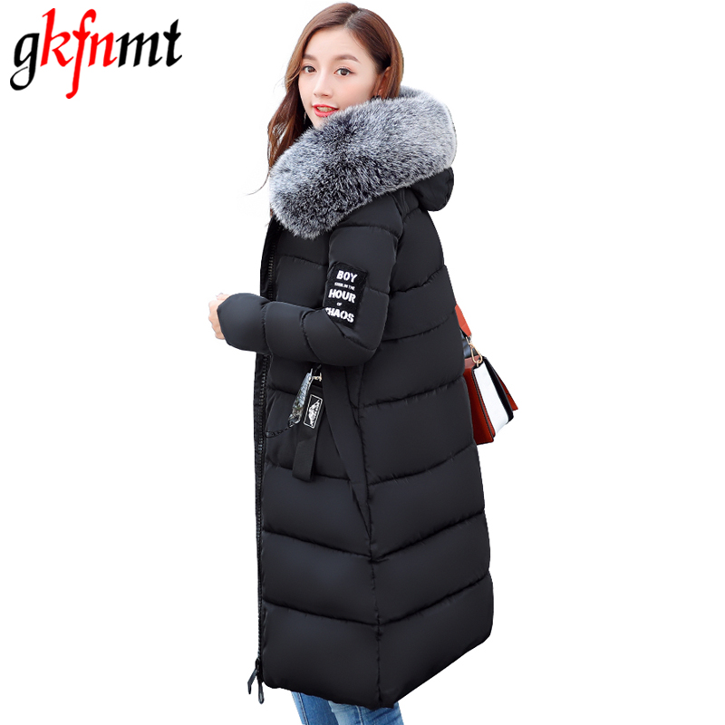 Gkfnmt Winter Jacket Women 2017 Fur Collar Hooded Parka coat women Cotton-Padded Thicken Warm Long Jacket Female Plus size 5XL bjcjwf 2017 winter jacket women wadded long parkas female outerwear hooded coat cotton padded fur collar parka thicken warm 1pc