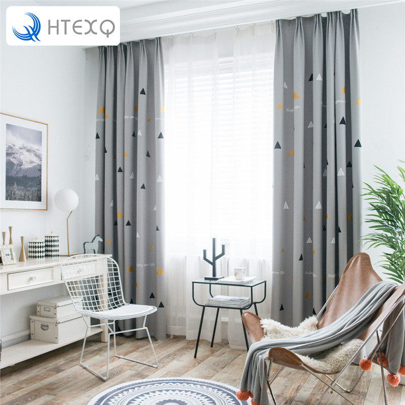 US $31.2 40% OFF|HTEXQ Fashion Geometric Custom Curtain Contracted  Contemporary Curtains for Living Room Bedroom Shading Nordic Day Type  Style-in ...