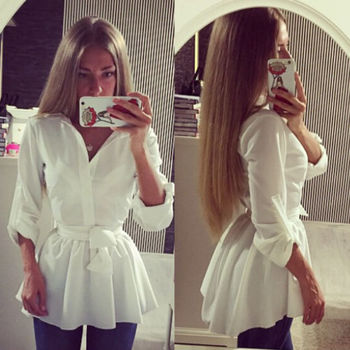 Women Shirts White Blouse Top with Belt New Women Lady Clothing Spring Summer Brief Long Sleeve Button Down Blouse women s tops and blouses cotton white shirt line face print retro shirts with long sleeve white blouse lady spring summer xnxee
