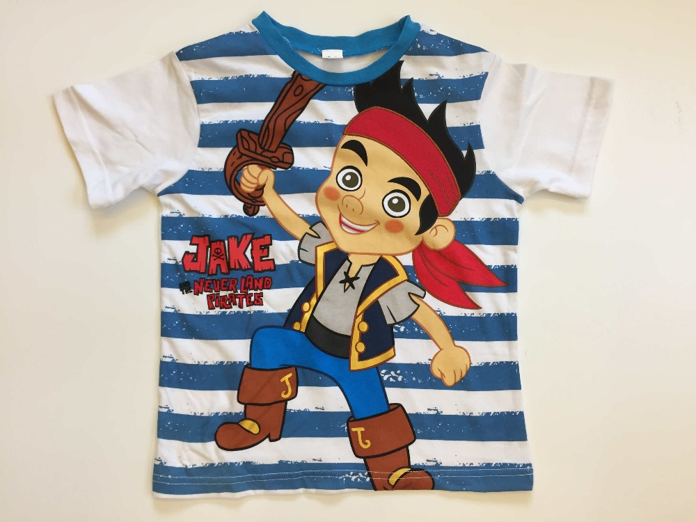 Promotion Hot Sale Brand 2017 New Child Tshirts Baby Boys Jake And The Neverland Pirates Clothes Summer Tops Blouse Cartoon