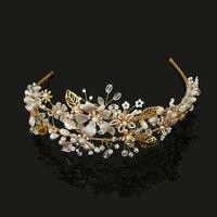 2017 New Arrival Gold Crystal Rhinestones Pearls Flower Leaf Wedding Tiara Headband Bridal Crown Hair Accessories