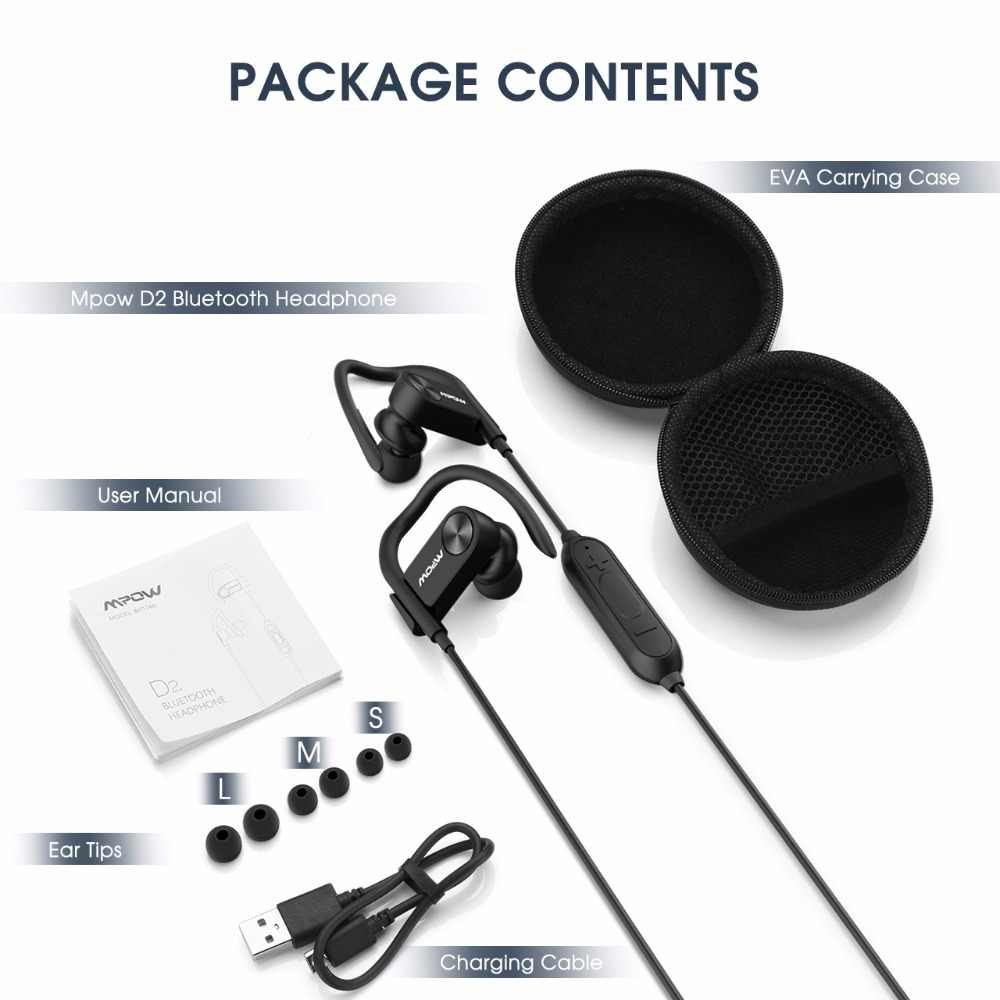 c1ad91f9993 ... MPOW D2 Wireless Bluetooth Headphone IPX7 Waterproof Sport Earphone  With Mic & Carry Case Bag For