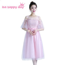 lace light pink colored 2019 fashion sexy short bridesmaids dress sparkly  vestido bridesmaid tank sleeved tea dresses H4295 c1aed00ddbb5