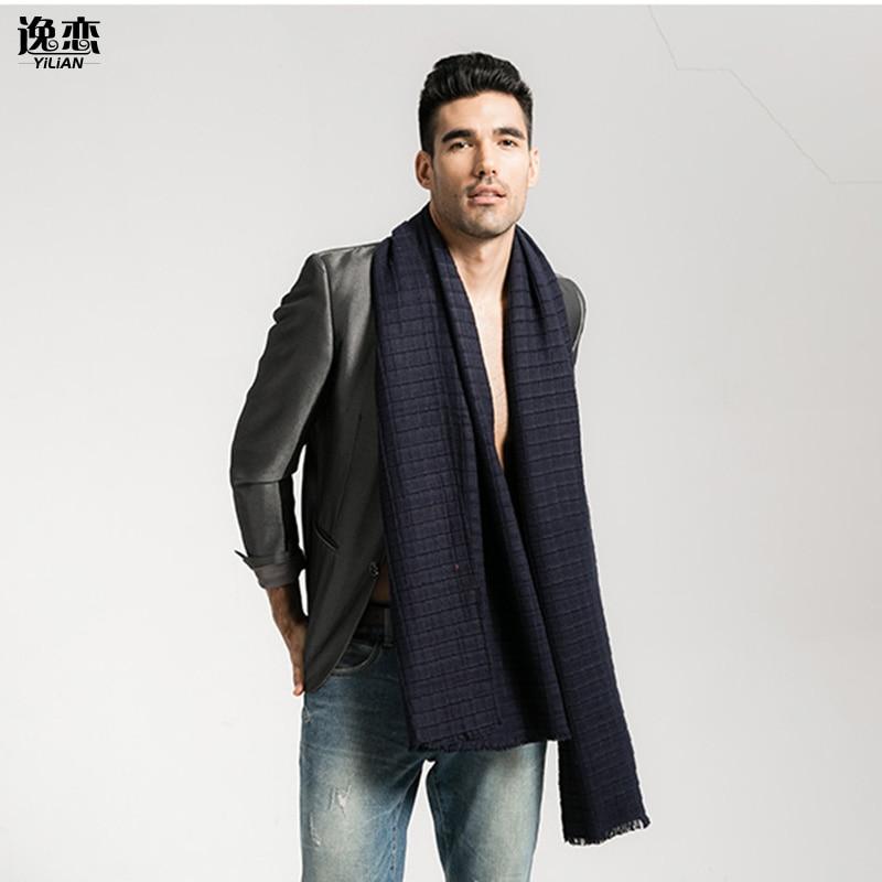 YI LIAN Brand Top Grade Knitted Blanket Men <font><b>Scarf</b></font> Classic Plaid Winter Oversize Long <font><b>Scarf</b></font> for Business Man