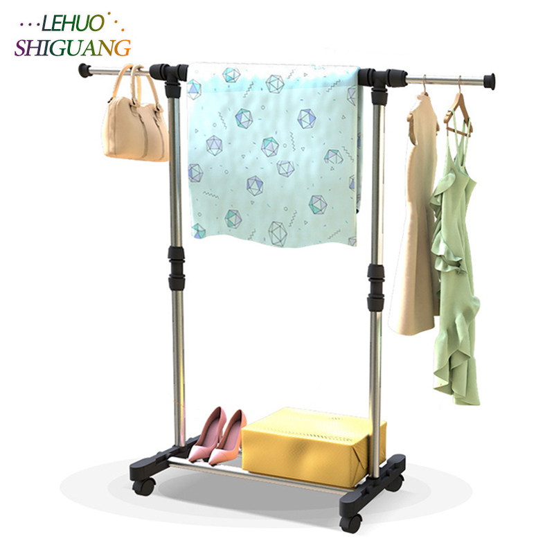 Stainless steel drying racks balcony adjustable Single rod floor drying home living room bedroom hangers Coat rack Clothes rod