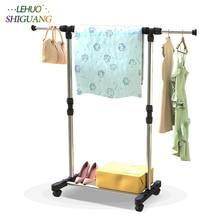 Купить с кэшбэком Stainless steel drying racks balcony adjustable Single rod floor drying home living room bedroom hangers Coat rack Clothes rod