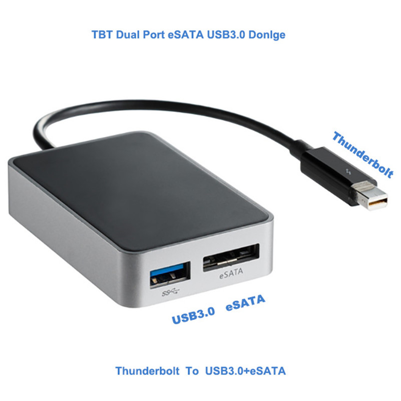 Free Shipping By FedEx DHL UPS,Thunderbolt Port to USB 3.0 & eSATA SATA Hard Disk Drive Adapter Cable for Apple Macbook iMac sony hdr az1vr white