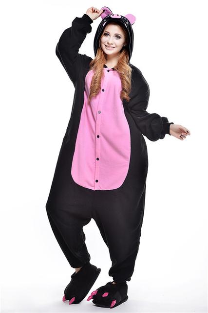 Traje Cosplay preto pequeno porco Dos Desenhos Animados Animal Um Pedaço Sleepwear pijama femme casal conjuntos de pijama