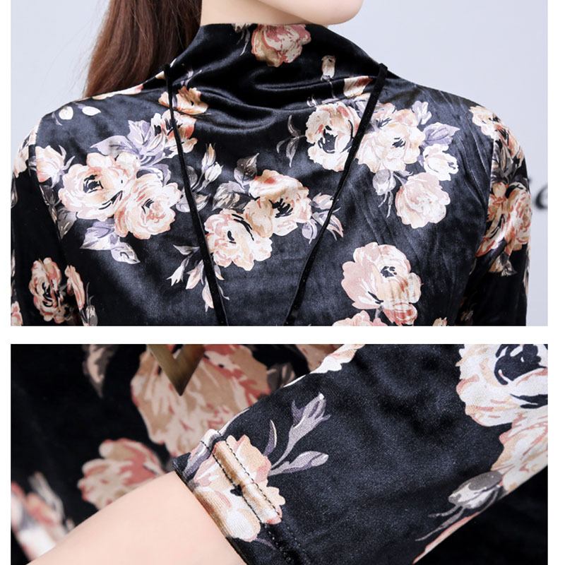 Gold Velvet Pink Flowers Print Female Shirt Fashion Trend Chinese style Half Turtleneck Plus Size Slim Long Sleeve Women Blouses in Blouses amp Shirts from Women 39 s Clothing