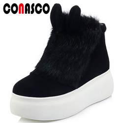 CONASCO модные милые женские ботильоны на высоком каблуке теплые зимние женские туфли на платформе повседневная обувь женские пикантные