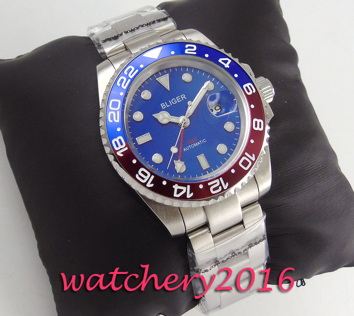 Modisch 40mm Bliger blue dial date sapphire glass men watches 2017 top brand luxury GMT automatic Movement Men's WristWatches коньки onlitop 223f 37 40 blue 806164