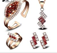 wholesale jewelry pendants Alloy color gem crystal necklace bracelet earrings ring Ms individuality jewelry set