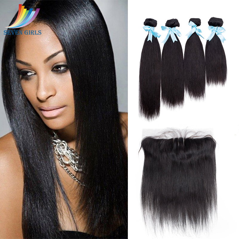 Peruvian Straight <font><b>Hair</b></font> 4 Bundles With 13x4 Preplucked Frontal <font><b>Grade</b></font> <font><b>10A</b></font> Unprocessed Virgin Human <font><b>Hair</b></font> Bundle Deals Free Shipping image