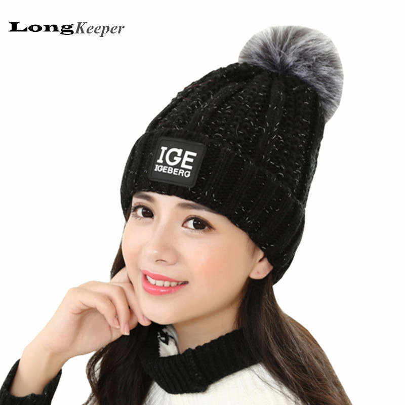 LongKeeper Female Winter Hats Knitted Skullies Colours Gorros Acrylic Winter Hats For Women Letter Cap Bone Round Beanie YW44 unisex 1d one direction letter hats gorros bonnets winter cap skullies beanie female hihop knitted hat toucas with pompom ball