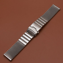 High Quality Watchband Stainless steel Shark Mesh Watch bands strap bracelet with safety folding buckle 22mm accessories for men new 22mm top grade brushed stainless steel watchband bands strap with double push clasp buckle for mens strap bracelet