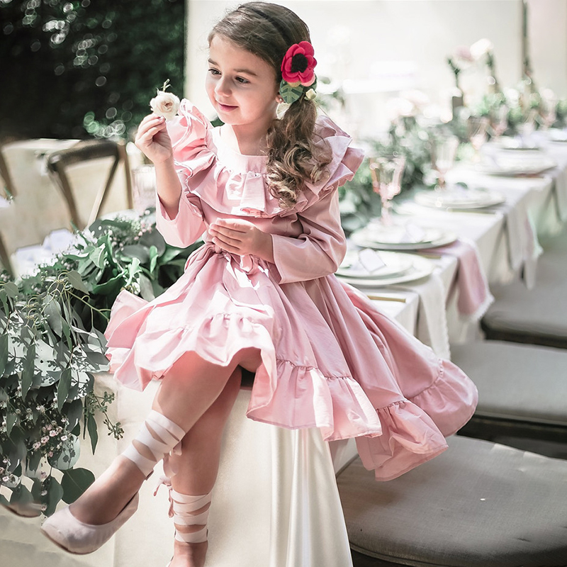 Girls Princess Dress Long Sleeve Vintage Kids Dress Ruffles Baby Girls Dress Children Clothing For Evening Party Pink Color vintage geometric printed long sleeve bodycon dress for women