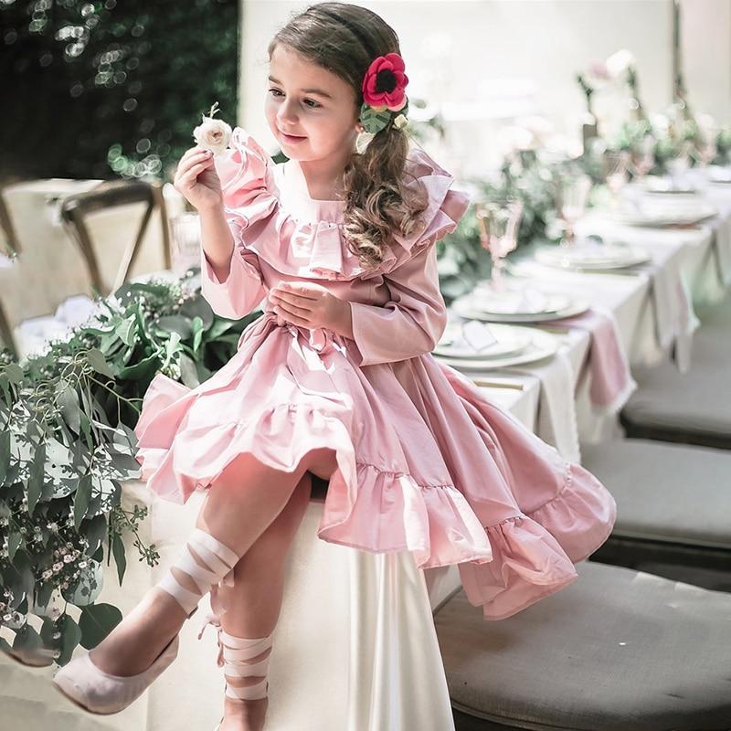 все цены на Girls Princess Dress Long Sleeve Vintage Kids Dress Ruffles Baby Girls Dress Children Clothing For Evening Party Pink Color