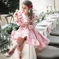 Girls Princess Dress Long Sleeve Vintage Kids Dress Ruffles Baby Girls Dress Children Clothing For Evening Party Pink Color