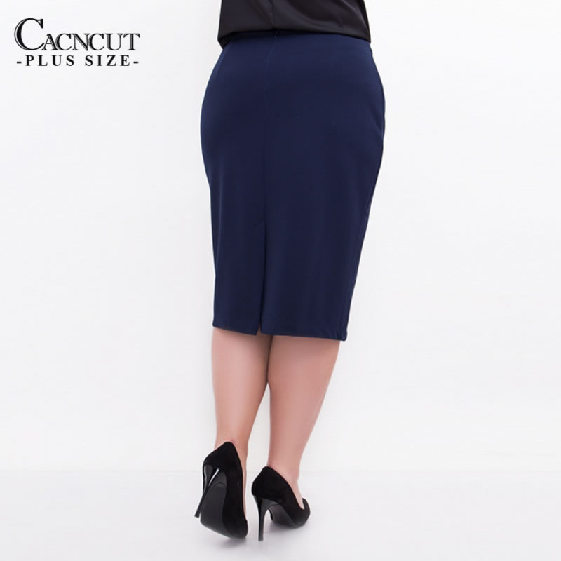 CACNCUT Big Size High Waist Bag Thigh Skirt Business Casual Skirt For Women 2019 Plus Size Bodycon Pencil Office Skirt Black 6XL 4