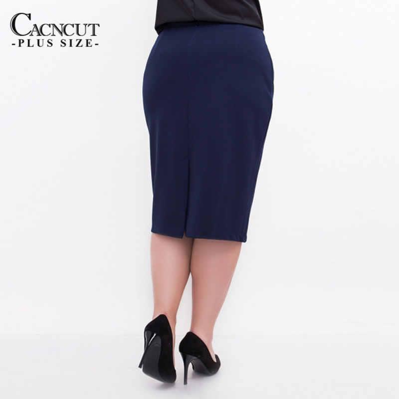 Cacncutビッグサイズハイウエストbag thighスカートビジネスカジュアル女性 2019 用プラスサイズのボディコン鉛筆オフィススカート黒 6XL