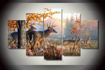 5 Panel Forest Wonderland Animal Deers Wall Art Picture Home Decoration Living Room Canvas Print Wall Picture Printing On Canvas no frame canvas