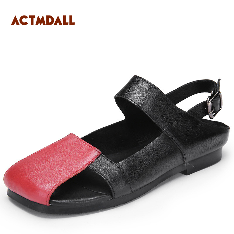 ebe402d59 2019 Fashion Flat Bottom Beach Shoes Flat Women Sandals Ankle Strap Genuine  Leather Casual Shoes Women For Summer