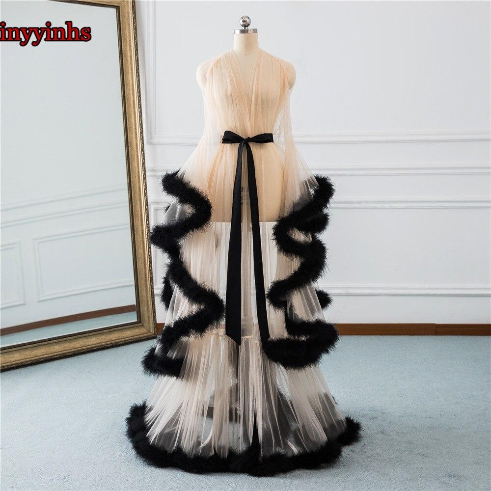 Élégant tenue De fête Longo robes De soirée 2019 V Cou Plume à manches longues Tulle grande taille Parti robes De bal Robe De Soirée