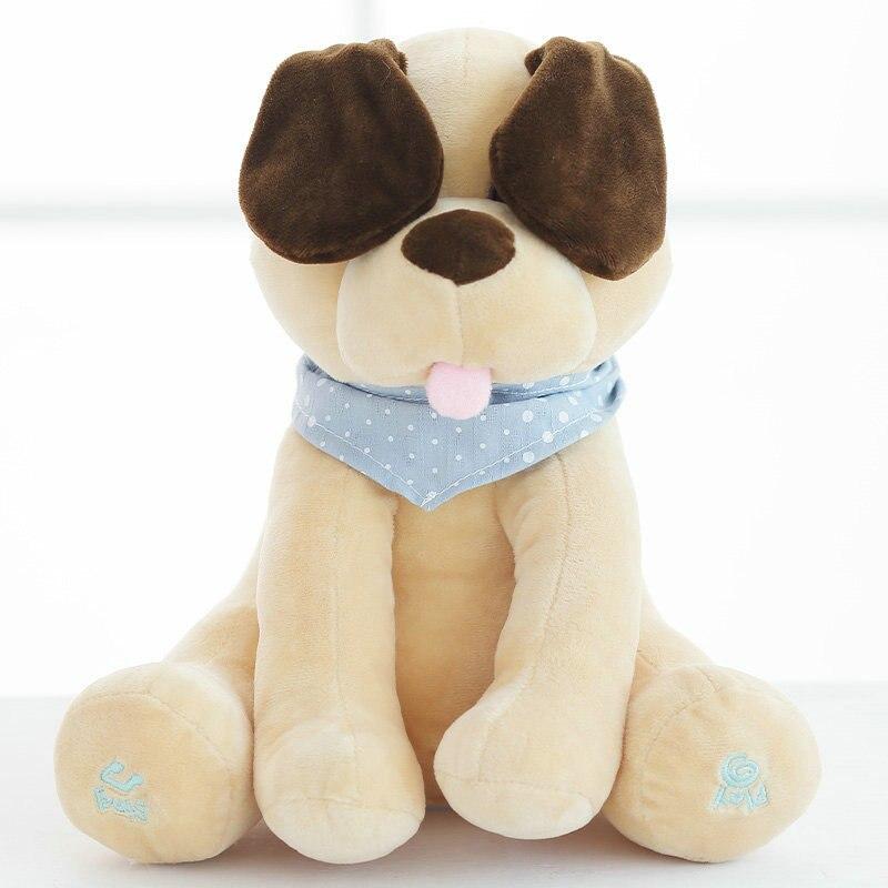 Peek A Boo cão Bichos de pelúcia Plush Doll & dog Música Educacional Brinquedo Anti-stress Elétrica Para O Bebê