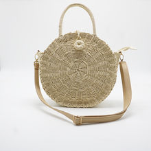 New Round Straw Bags Women Summer Rattan Bag Handmade Woven Beach Cross Body white/black Bag Circle Bohemia Handbag Bali(China)