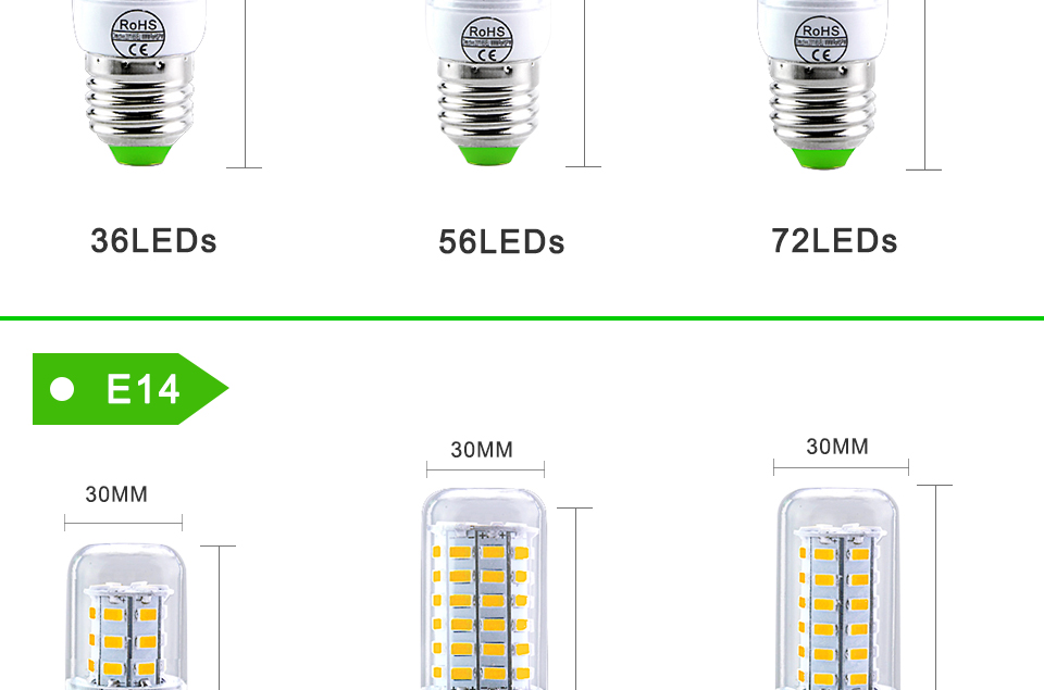 E27 LED Bulb E14 LED Lamp 220V 24 36 48 56 69 72LEDs Bombillas Ampoule LED E27 E14 Corn Light Bulbs For Home Chandelier Lighting (4)