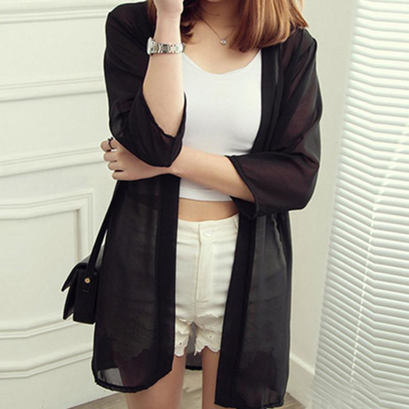 2016 The summer pure color is prevented bask in clothes, seven sleeve cardigan coat YEU