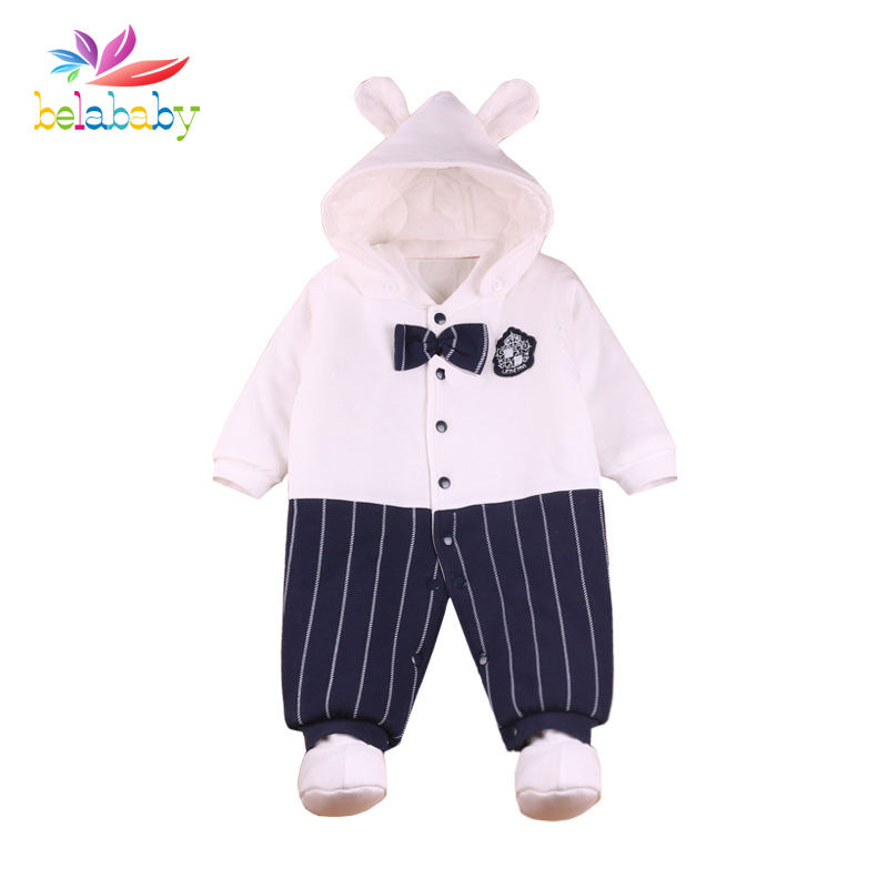 Belababy Winter Newborn Thicker Romper Infant Hooded Fleece Clothing gentleman Romper Baby Clothes Cotton-padded Overalls puseky 2017 infant romper baby boys girls jumpsuit newborn bebe clothing hooded toddler baby clothes cute panda romper costumes