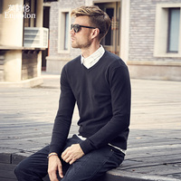Enjeolon brand spring knitted pullover Sweaters man v neck sweater men 3XL color solid pullover sweater men MY3427