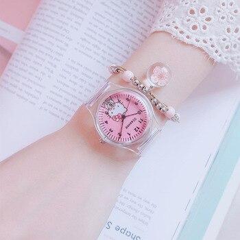 Креативные детские часы с милым студенческим розовым циферблатом, детские резиновые ручные часы с мультяшным рисунком, романтические пода...
